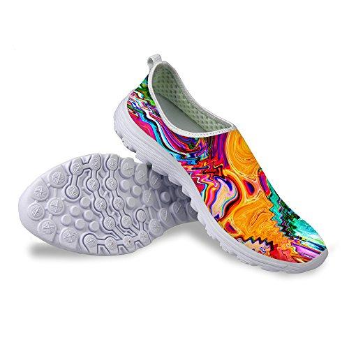Voor U Ontwerpen Mode Graffiti Patroon Ademend Mesh Comfortabele Slip Op Dames & Heren Loopschoenen Multi 1