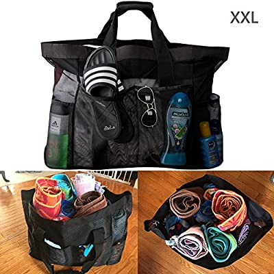 Large Beach Bags and Totes, XXL Mesh Tote Bag with Pockets & Zipper, Heavy Duty, Lightweight & Foldable - Oversized Carry Tote Bag for Towels