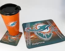 Miami Dolphins, NFL ,Tumbler 16oz, and Fabric Mouse Pad 10'x9', and Coaster, Computer Accessory Set, Set of 3