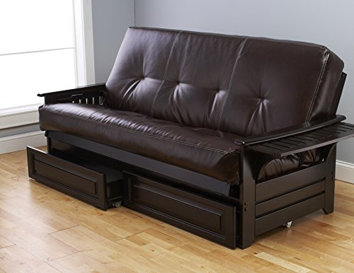 - Kodiak Futons KF Phoenix Size Futon in Espresso Finish with Storage Drawers, Full, Oregon Trail Java