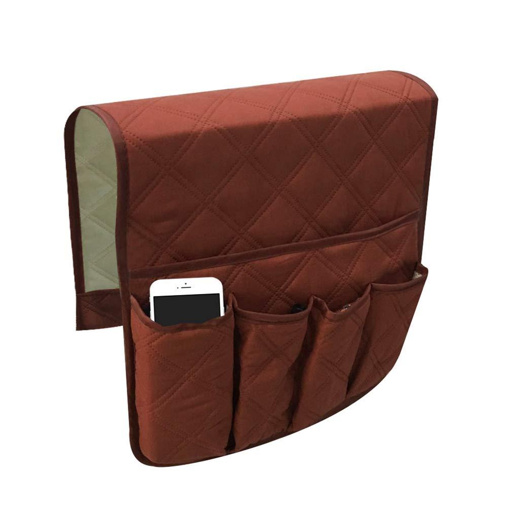 OUNONA Portaoggetti letto Tasche portaoggetti per cellulare telecomando riviste occhiali Vano portaoggetti per il letto o divano (Caffè scuro)