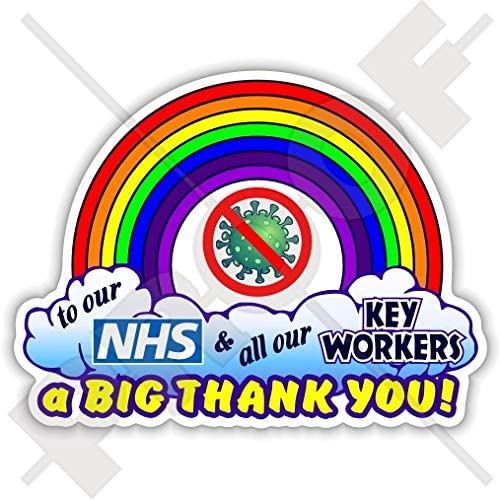 Mobile Phone 55mm Mini Decals COVID Coronavirus Quarantine Virus Self-Isolating Car Bumper Rainbow Teddy Bear Thank You x4 Stickers to Our NHS and All Our Key Workers We Love You Heart