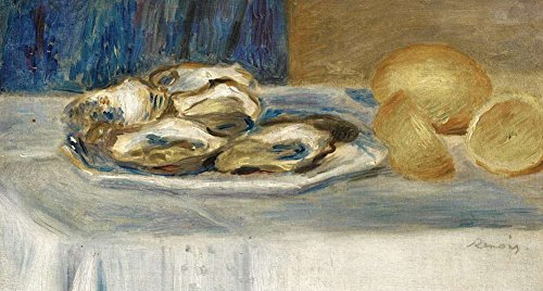 (JH Lacrocon Pierre-Auguste Renoir - Still Life with Lemons and Oysters Canvas Wall Art Rolled 75X40 cm (Approx. 30X16 inch) - Still Life Fruits Paintings Reproductions Prints)