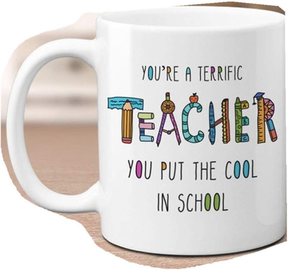 You're A Terrific Teacher - Taza divertida para profesor, regalo para el día de la madre, regalo de cumpleaños de profesor, regalo de agradecimiento, regalo para maestro de escuela primaria