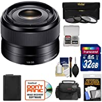 Sony Alpha E-Mount 35mm f/1.8 OSS Lens with 32GB Card + NP-FW50 Battery + Case + 3 Filters + Kit for A7, A7R, A7S Mark II, A5100, A6000, A6300 Cameras