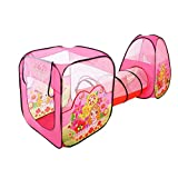 Biscount Pop-Up Little Girl With Butterfly Play Tent Indoor & Outdoor Two Playhouse with Tunnel