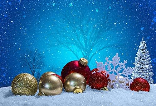baocicco 5 x 4ftカラフルBauble Balls Snowing Night Sky BackdropコットンポリエステルPhotography Backgroud雪フィールド冬シーンクリスマスEve Pary新しい年祭   B07FS74KL5