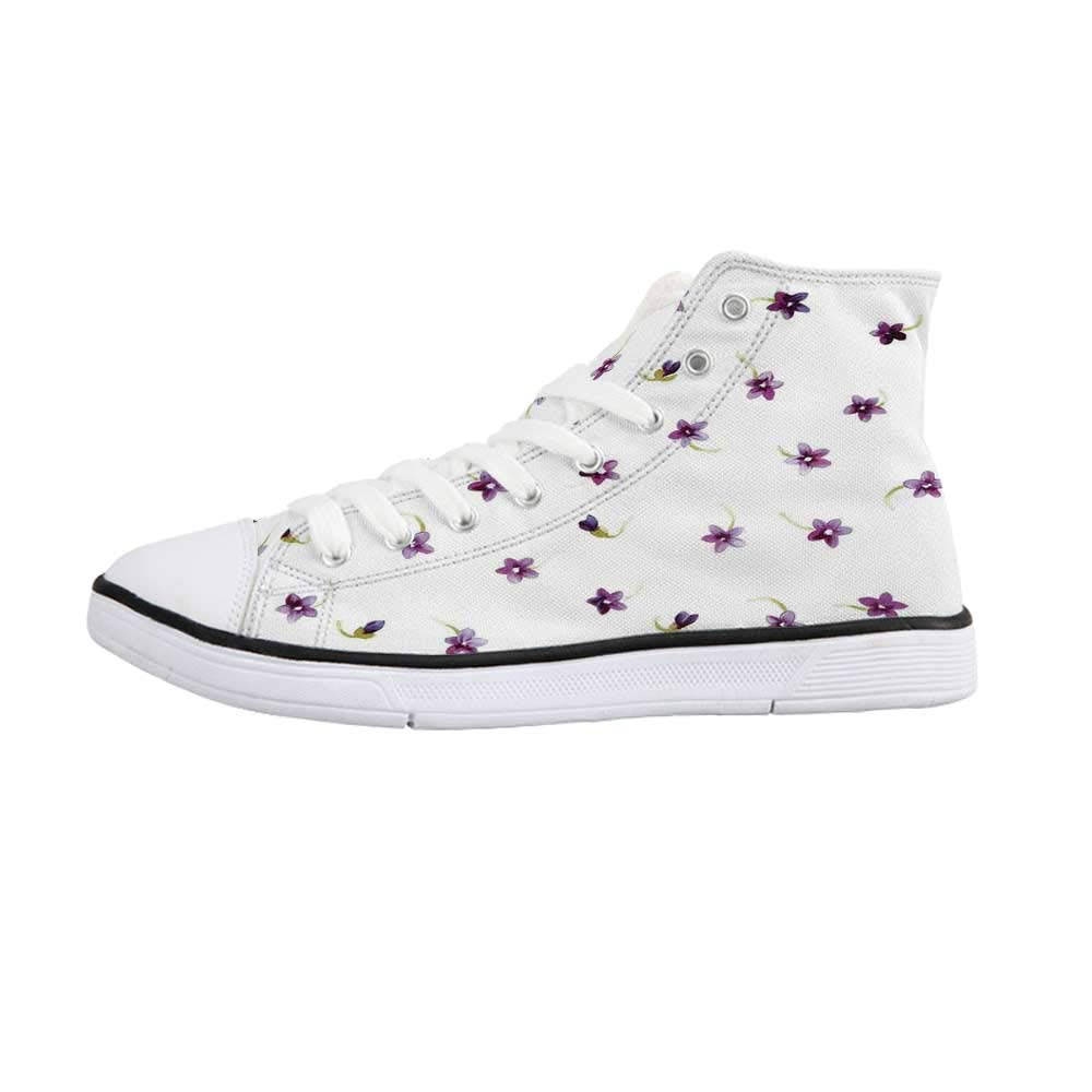 Watercolor Flower Comfortable High Top Canvas Shoes,Soft Colored Spring Flowers and Leaves on Misty Retro Background Nature Art for Women Girls,US 5
