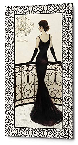 Epic Graffiti 'La Belle Noir with Floral Cartouche Border 4' by Emily Adams Giclee Canvas Wall Art 12