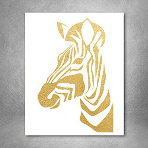 Zebra Print Gold Foil Wall Art Print, Decor Animal Print Metallic Wall Art Poster 8 x 10 inches A4