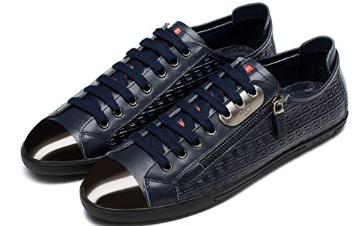 OPP Men's Lace up Leather Low Top Fashion Sneaker Shoes,1819Blue,11.5 D(M) US