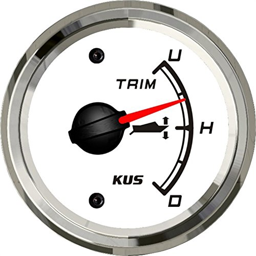 SEAWELL Kus Boat Yacht Trim Gauge Marine Trim Tilt Indicator for Outboard Engine 52mm 12/24V (White) by SEAWELL