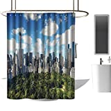 shower curtains for bathroom animal NYC Decor Collection,Central Park View To Manhattan At Sunny Day Skyline Clouds Crowded City Cityscape,Green Blue White ,W48' x L84',shower curtain for shower stall