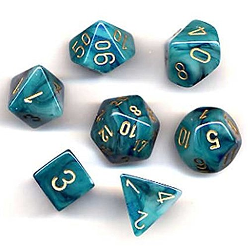 (Chessex Polyhedral 7-Die Phantom Dice Set - Teal with Gold CHX-27489)