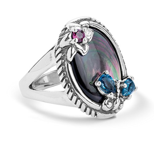 (Carolyn Pollack Sterling Silver Gray Mother of Pearl, Rhodolite Garnet and Blue Topaz Gemstone Butterfly Flower Ring Size 10)