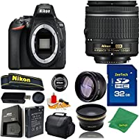 Great Value Bundle for D5600 DSLR – 18-55mm AF-P + 32GB Memory + Wide Angle + Telephoto Lens + Case