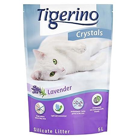 3 x 5 L Arenero de silicio Crystals Tigerino Color Adesso perfumada lavanda. Altai Elimina