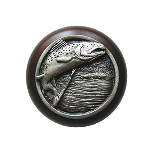 Notting Hill Decorative Hardware Leaping Trout Wood Knob, Antique Pewter, Dark Walnut wood finish (Leaping Trout Wood Knob)