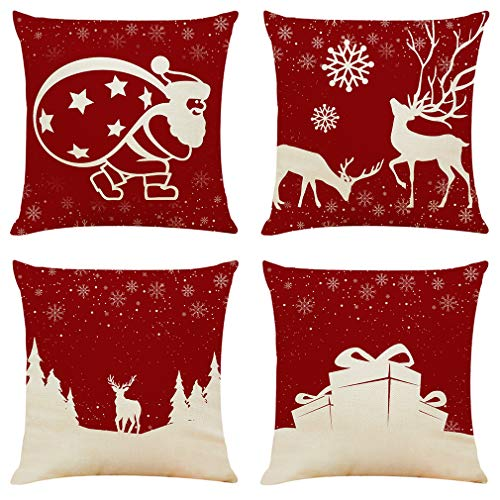 "Sunnyglade 4PCS 18""x18"" Christmas Throw Pillow Covers Fall Decorative Couch Pillow Cases Cotton Linen Autumn Pillow Square Cushion Cover for Sofa, Couch, Bed and Car (Christmas A-4PCS)"