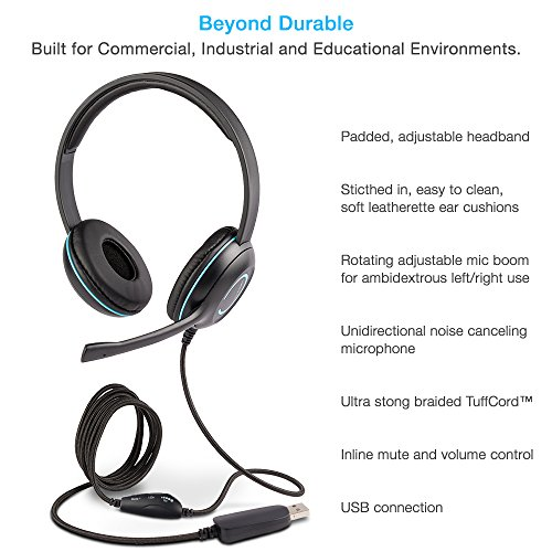Cyber Acoustics USB Stereo Headset with Headphones and Noise Cancelling Microphone for PCs and Other USB Devices in The Office Classroom or Home AC5008