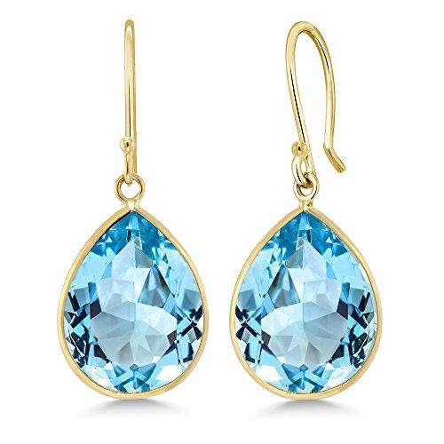 - Gem Stone King 14K Yellow Gold Blue Topaz Earrings 19.00 Ctw Pear Shape Gemstone Birthstone