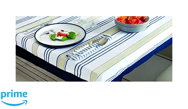 Amazon.com: MB Coastal Designs 22601 Nautical Striped Waterproof Tablecloth,  Beige/Blue: Home U0026 Kitchen
