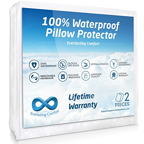 Everlasting Comfort 2-Pack Queen Size 100% Waterproof Pillow Protector, Hypoallergenic Pillow Covers, Breathable Membrane, Lifetime Replacement Guarantee