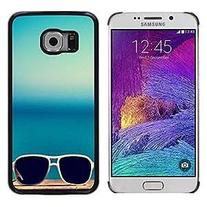 Paccase / SLIM PC / Aliminium Casa Carcasa Funda Case Cover para - Sunglasses Glasses Teal Blue Summer Sun - Samsung Galaxy S6 EDGE SM-G925