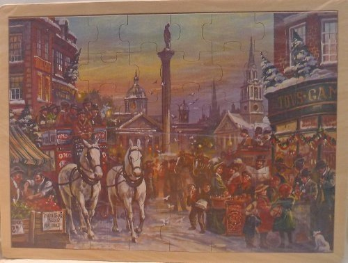 Simplex Wooden Jigsaw Puzzle - Nostalgic Christmas in London (Trafalgar Square) by Simplex Toys - Simplex Square