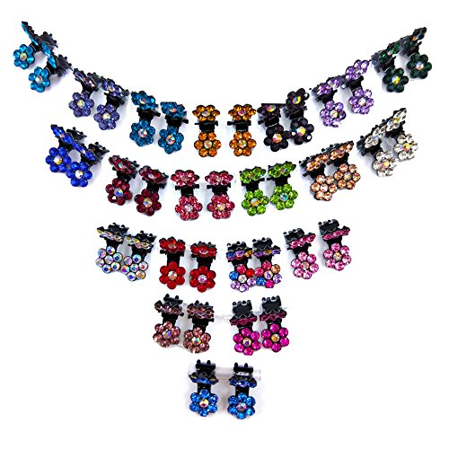 40pcs Bridal Snap Crystal Rhinestone Assorted Bangs Mini Hair Claw Jaw Clip Pin Flower Barrette Accessories for Little Girl Women Baby Toddler Mix Colored (40) (Girl Party Rhinestone)