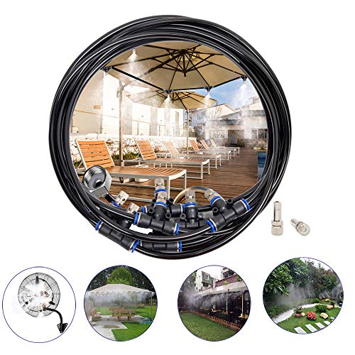 Misting Cooling System,50ft(15M) Misting Line 10 Stainless Steel Mist Nozzles 10 Connector Outdoor Cool Mister for Patio Garden Umbrellas Greenhouse Fan Trampoline Waterpark (T Mister Patio)