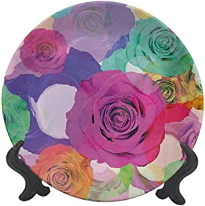 Albert Lindsay Backdrop Art 10 Inch Dinner Plate,Love Valentines Floral Arrangement with Vivid Roses Nature Flowers Botany Print Tableware Plate Decor Accessory for Party Kitchen,Magenta Turquoise