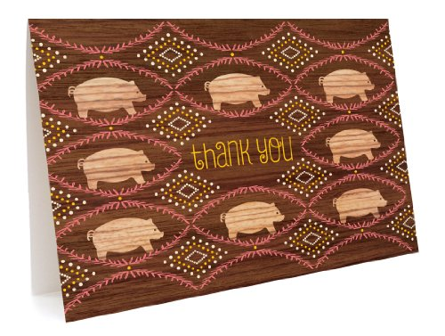 Piggies Thank You Cards, 6-Pack by Night Owl Paper Goods
