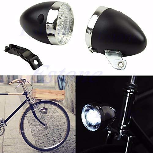 - FidgetFidget Headlamp Retro 3 LED Bike Bicycle Chrome Visor Bullet Headlight Front/Tail Light