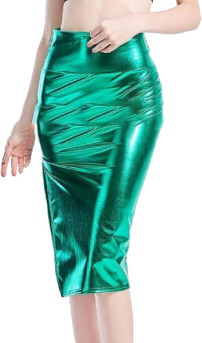 dahuo Faldas elásticas de Moda para Mujer, Falda de látex con ...