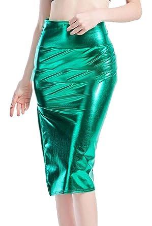 ShuangRun Mini Falda de Piel líquida con Aspecto Mojado para Mujer ...
