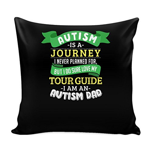 Autism Dad Pillow Cover with Insert Awareness Support Cause Puzzle Spectrum - 16 x 16 - Journey by teelaunch