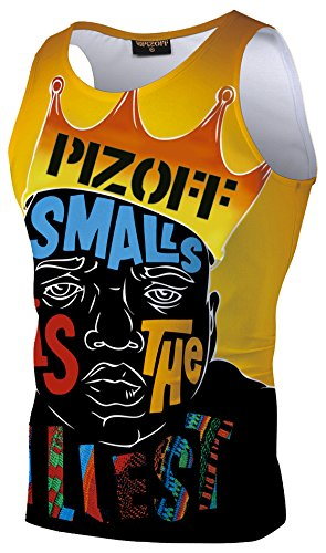 09 Training Top - Pizoff 3D Print Cartoon King of Hip Hop Floral Realistic Gym Muscle Tank Tops AL083-09-XL