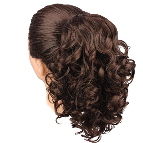 WeKen Hair Bun Medium Long Curly Synthetic Hairpiece Dark Brown