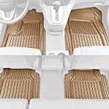 Solid Pro Rubber Car Floor Mats - Performance Plus Heavy Duty Liners for Auto SUV Truck Car Van - 4-Piece Set - Thick, Odorless & All Weather (Beige Tan)