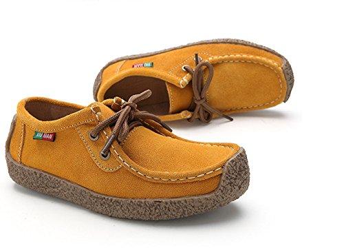 XIUXIAN Xiu Xian Frauen Schnecke Casual Lace-up Echtes Leder Flache Sneaker Schuhe Gelb