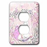 3dRose Uta Naumann Sayings and Typography - Cute Pink Easter Bunny Animal Illustration - Spring In Air - Light Switch Covers - 2 plug outlet cover (lsp_275603_6)