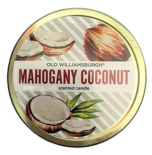 (Mahogany Coconut Scented Mini Mason Jar Candles 3 Ounces | Old Williamsburgh Tropical Beach Hawaiian Decor | Set of 2)