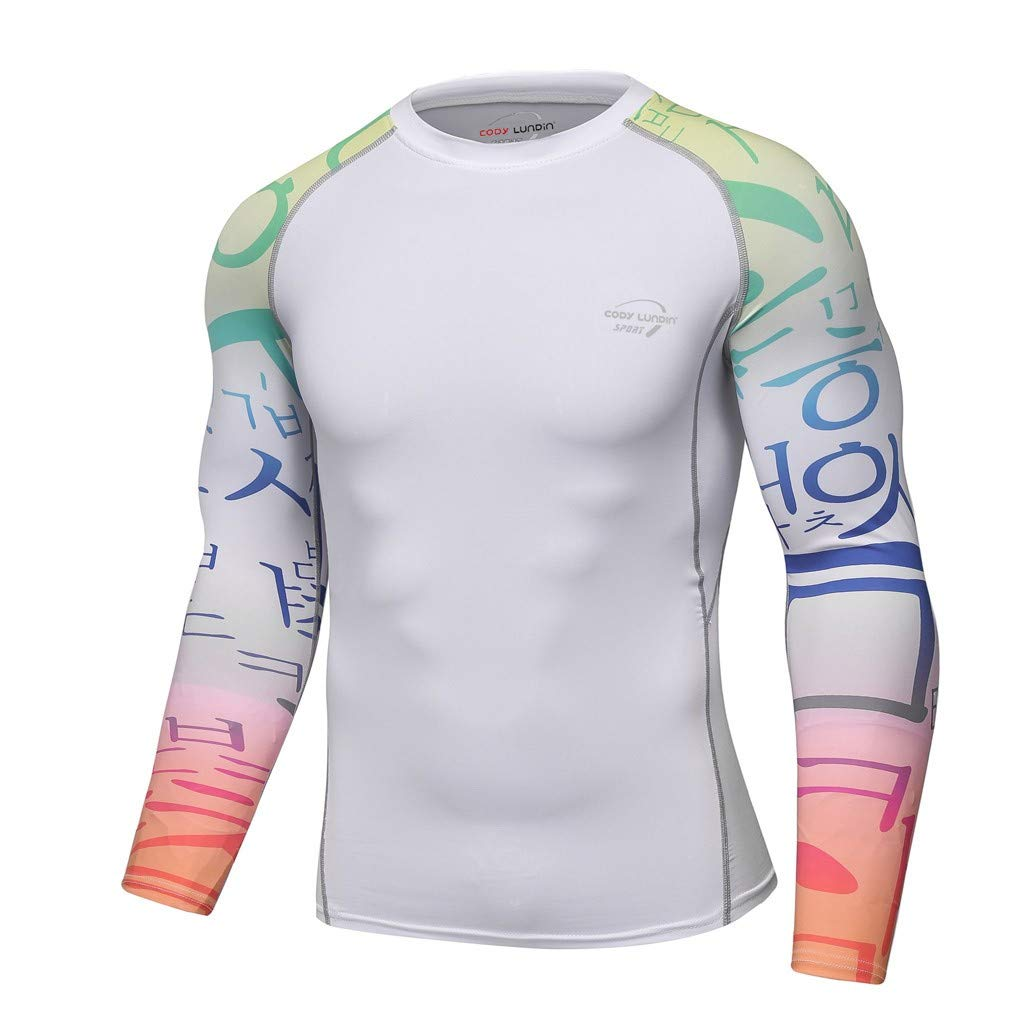 Men's Compression Shirts, Long-Sleeve Slim Fit Tops,Workout Undershirts,Quick Dry Fitness Top,Gradient Tee White