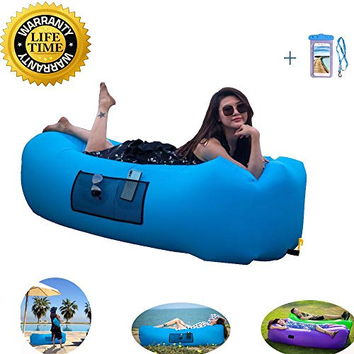 nianyun Fast Inflatable Lounger Air Sofa,Lazy Leisure Sleeping Bag Lunch Break,Indoor Outdoor Portable Lounge Chair Carrying Bag,Stake Travelling, Camping, Hiking, Park Beach Parties by nianyun