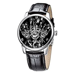 Wrist watches men, black Genuine leather band silver dial fashionable watches Skull Design