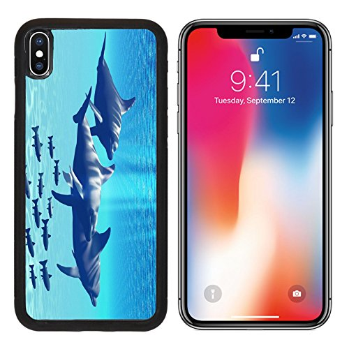 MSD Premium Apple iPhone X Aluminum Backplate Bumper Snap Case IMAGE ID: 7573832 Three Bottlenose Dolphins swim with a group of reef (Tro Freshwater Fish)