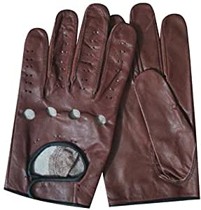 MENS REAL SOFT GENUINE LEATHER CLASSIC DRIVING TOP QUALITY DRESS FASHION BROWN & BLACK GLOVES (XL)