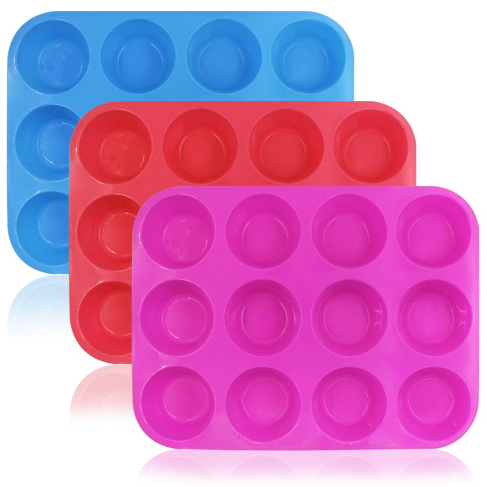 12-Cup Silicone Muffin&Cupcake Baking Pan,DanziX 3 Pack Silicone Molds for Muffin Tins,Cakes,Non-stick Mould(Rosy,Red,Blue)