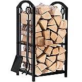 AMAGABELI GARDEN & HOME logholder06 Fireplace Log Rack with 4 Tools, Holder, Black